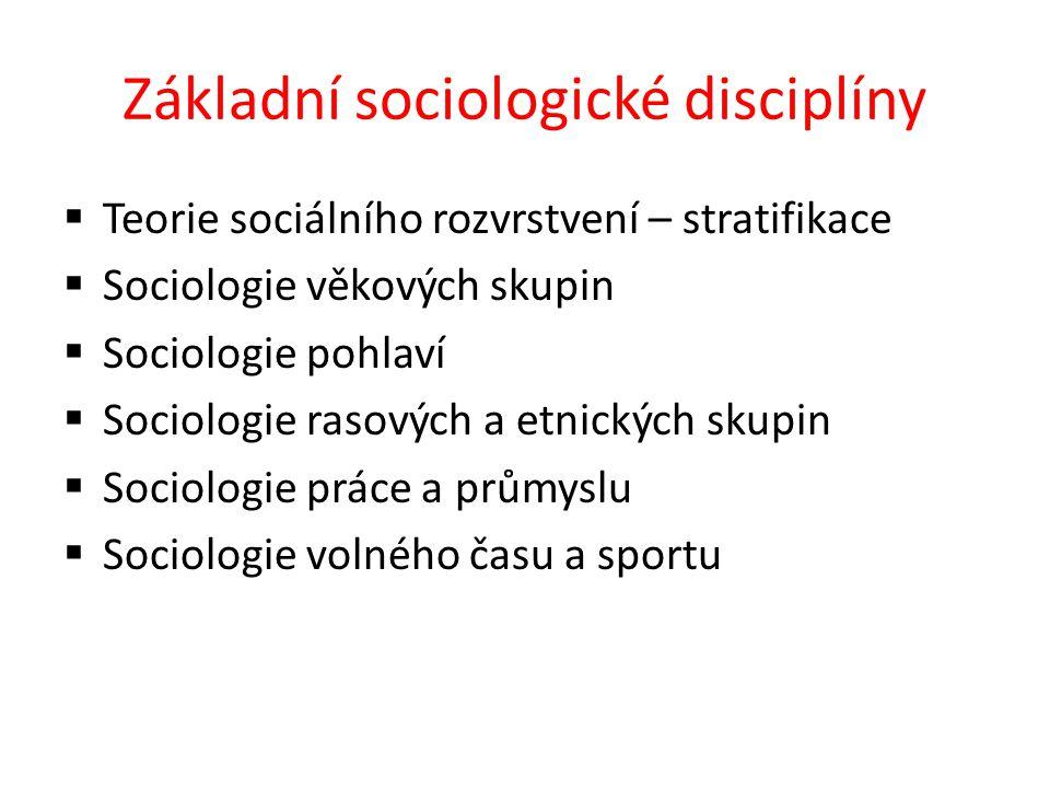 Základní sociologické disciplíny  Teorie sociálního rozvrstvení – stratifikace  Sociologie věkových skupin  Sociologie pohlaví  Sociologie rasových a etnických skupin  Sociologie práce a průmyslu  Sociologie volného času a sportu
