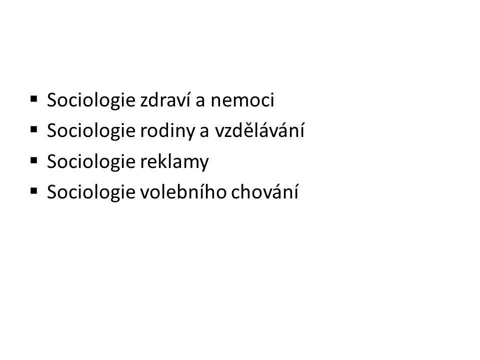  Sociologie zdraví a nemoci  Sociologie rodiny a vzdělávání  Sociologie reklamy  Sociologie volebního chování