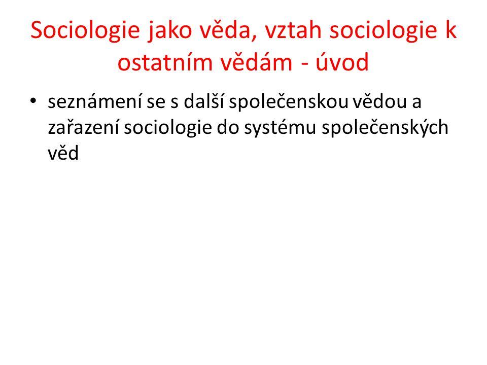 Sociologie jako věda, vztah sociologie k ostatním vědám - úvod seznámení se s další společenskou vědou a zařazení sociologie do systému společenských věd