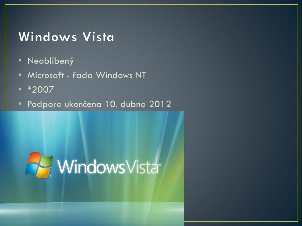 Neoblíbený Microsoft - řada Windows NT *2007 Podpora ukončena 10. dubna 2012