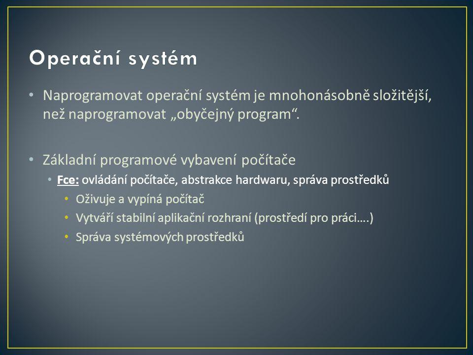 """Naprogramovat operační systém je mnohonásobně složitější, než naprogramovat """"obyčejný program ."""