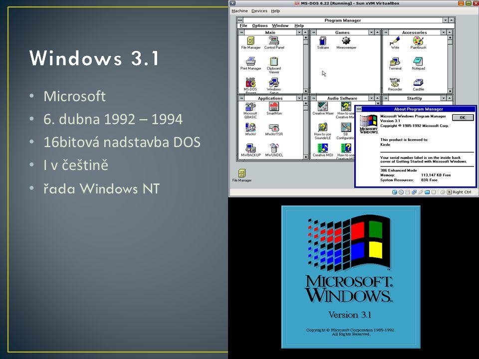 Microsoft 6. dubna 1992 – 1994 16bitová nadstavba DOS I v češtině řada Windows NT