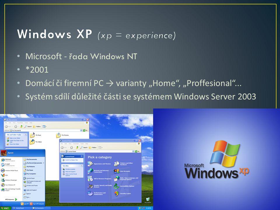 """Microsoft - řada Windows NT *2001 Domácí či firemní PC → varianty """"Home , """"Proffesional ..."""