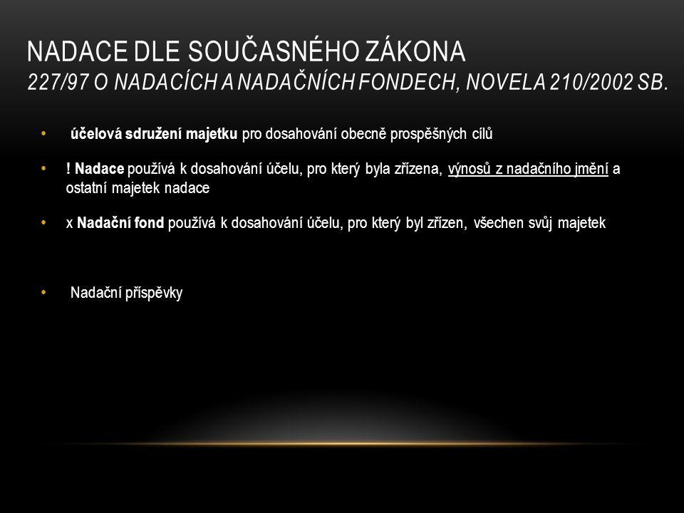NADACE DLE SOUČASNÉHO ZÁKONA 227/97 O NADACÍCH A NADAČNÍCH FONDECH, NOVELA 210/2002 SB.