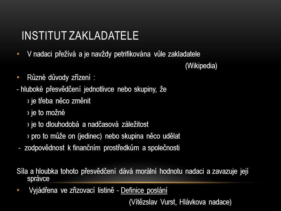 NADACE JAKO SPRÁVCE SVĚŘENÉHO MAJETKU… ( Vítězslav Vurst, Hlávkova nadace)