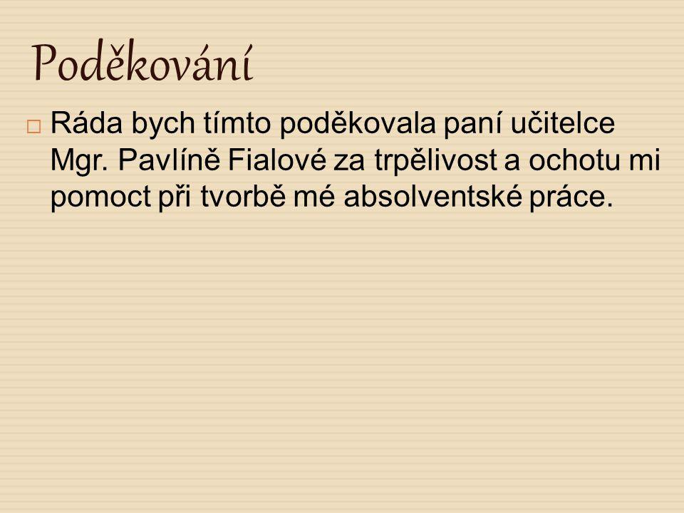 Poděkování  Ráda bych tímto poděkovala paní učitelce Mgr. Pavlíně Fialové za trpělivost a ochotu mi pomoct při tvorbě mé absolventské práce.