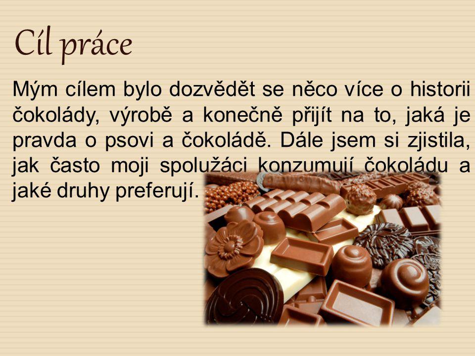 Cíl práce Mým cílem bylo dozvědět se něco více o historii čokolády, výrobě a konečně přijít na to, jaká je pravda o psovi a čokoládě. Dále jsem si zji