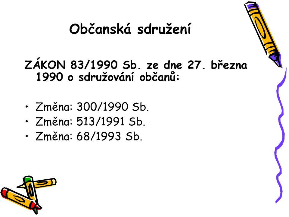 Občanská sdružení ZÁKON 83/1990 Sb. ze dne 27.