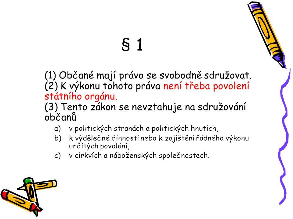 § 1 (1) Občané mají právo se svobodně sdružovat.