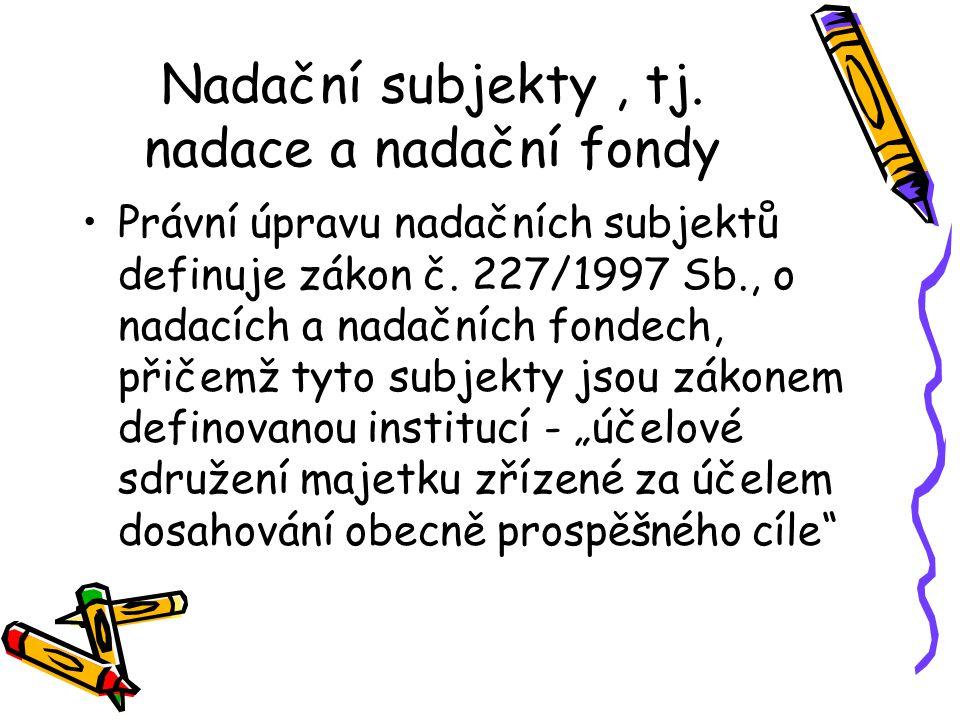 Nadační subjekty, tj. nadace a nadační fondy Právní úpravu nadačních subjektů definuje zákon č.
