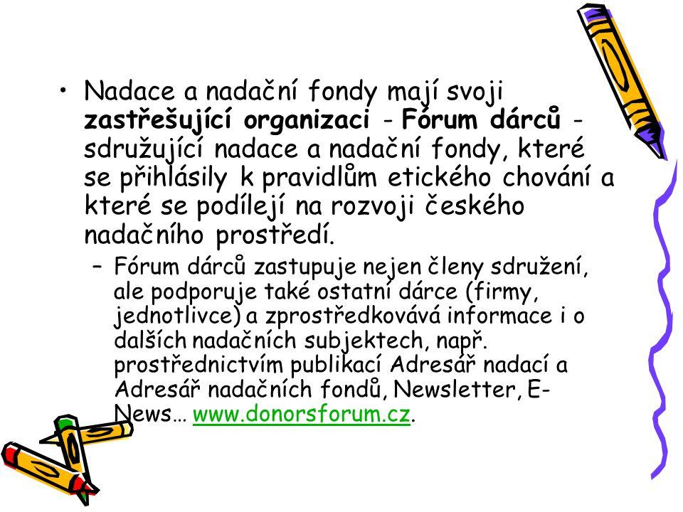 Nadace a nadační fondy mají svoji zastřešující organizaci - Fórum dárců - sdružující nadace a nadační fondy, které se přihlásily k pravidlům etického chování a které se podílejí na rozvoji českého nadačního prostředí.