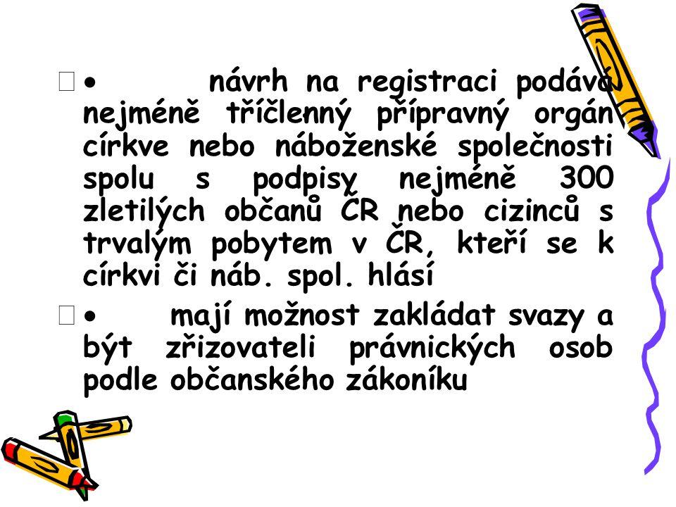  návrh na registraci podává nejméně tříčlenný přípravný orgán církve nebo náboženské společnosti spolu s podpisy nejméně 300 zletilých občanů ČR nebo cizinců s trvalým pobytem v ČR, kteří se k církvi či náb.