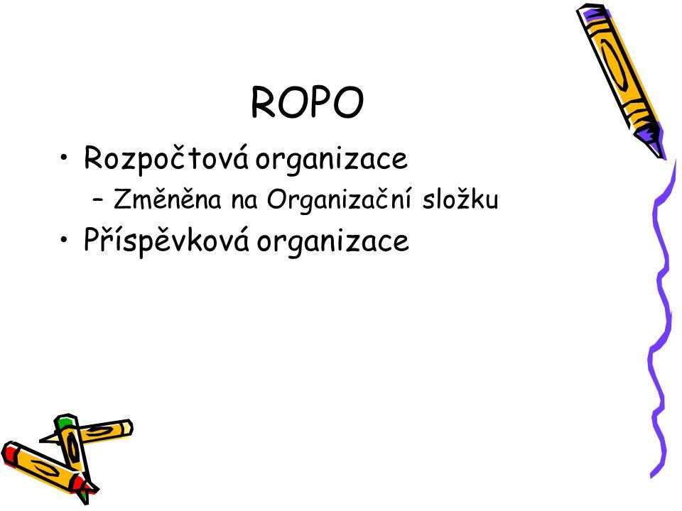 ROPO Rozpočtová organizace –Změněna na Organizační složku Příspěvková organizace