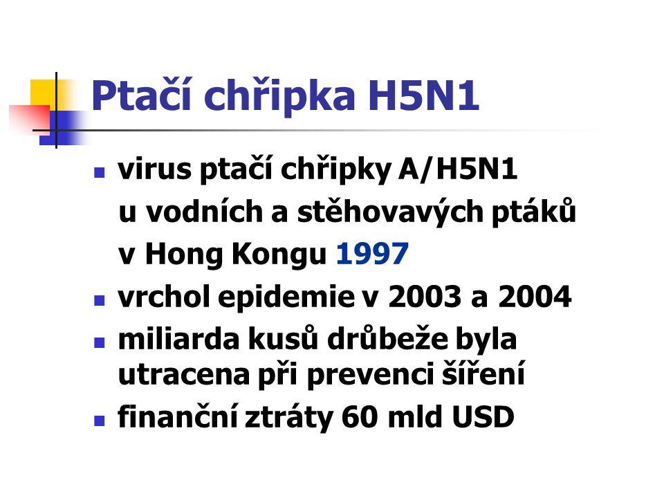 Ptačí chřipka H5N1 virus ptačí chřipky A/H5N1 u vodních a stěhovavých ptáků v Hong Kongu 1997 vrchol epidemie v 2003 a 2004 miliarda kusů drůbeže byla
