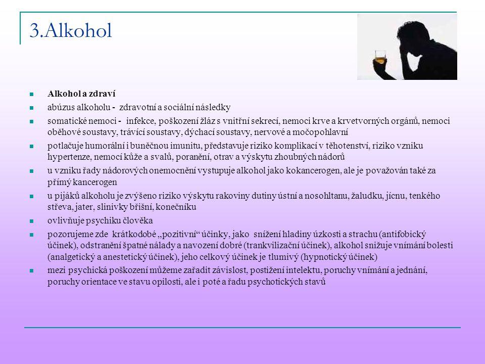 3.Alkohol Alkohol a zdraví abúzus alkoholu - zdravotní a sociální následky somatické nemoci - infekce, poškození žláz s vnitřní sekrecí, nemoci krve a