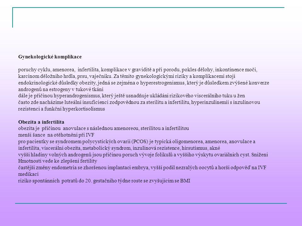 Gynekologické komplikace poruchy cyklu, amenorea, infertilita, komplikace v graviditě a při porodu, pokles dělohy, inkontinence moči, karcinom děložní