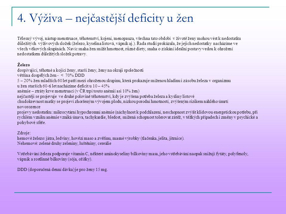 4. Výživa – nejčastější deficity u žen Tělesný vývoj, nástup menstruace, těhotenství, kojení, menopauza, všechna tato období v životě ženy mohou vést
