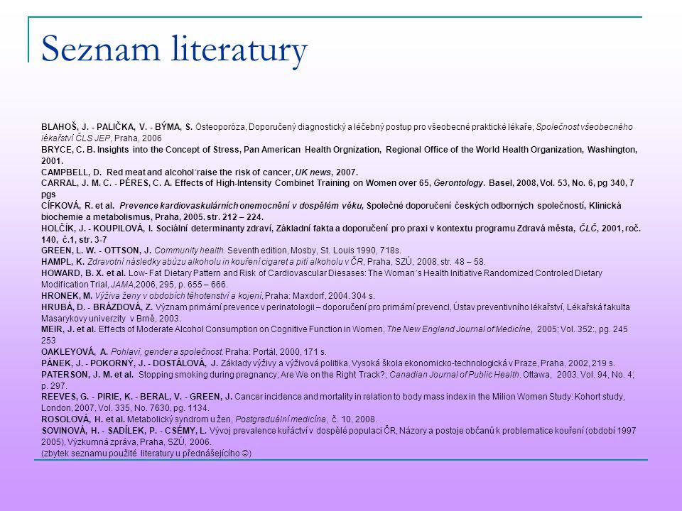 Seznam literatury BLAHOŠ, J. - PALIČKA, V. - BÝMA, S. Osteoporóza, Doporučený diagnostický a léčebný postup pro všeobecné praktické lékaře, Společnost