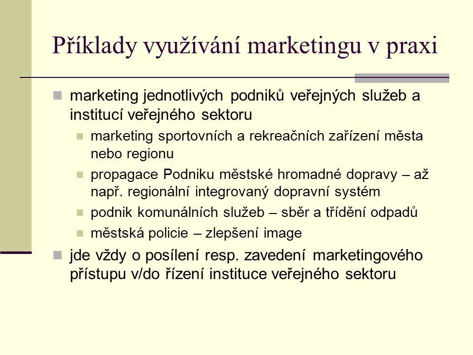 Příklady využívání marketingu v praxi marketing jednotlivých podniků veřejných služeb a institucí veřejného sektoru marketing sportovních a rekreačníc