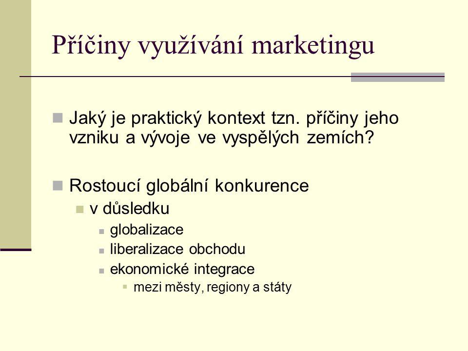 Příčiny využívání marketingu Jaký je praktický kontext tzn. příčiny jeho vzniku a vývoje ve vyspělých zemích? Rostoucí globální konkurence v důsledku