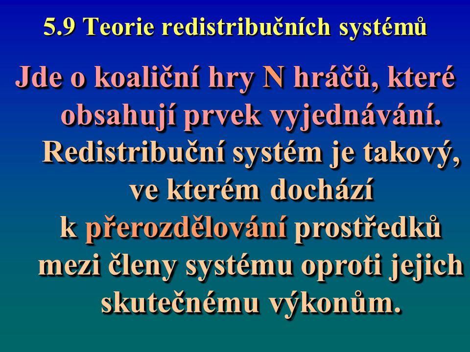 5.9 Teorie redistribučních systémů 1.Při těchto hrách se mohou vyjednávat koalice; 2.Koalice a dohody mohou: - být zjevné i skryté; - sloužit k získání výhod i cestou diskriminace hráčů; 3.Hráči řeší dilema mezi vlastním (či koaličním) prospěchem a výkonností celého systému, tj.
