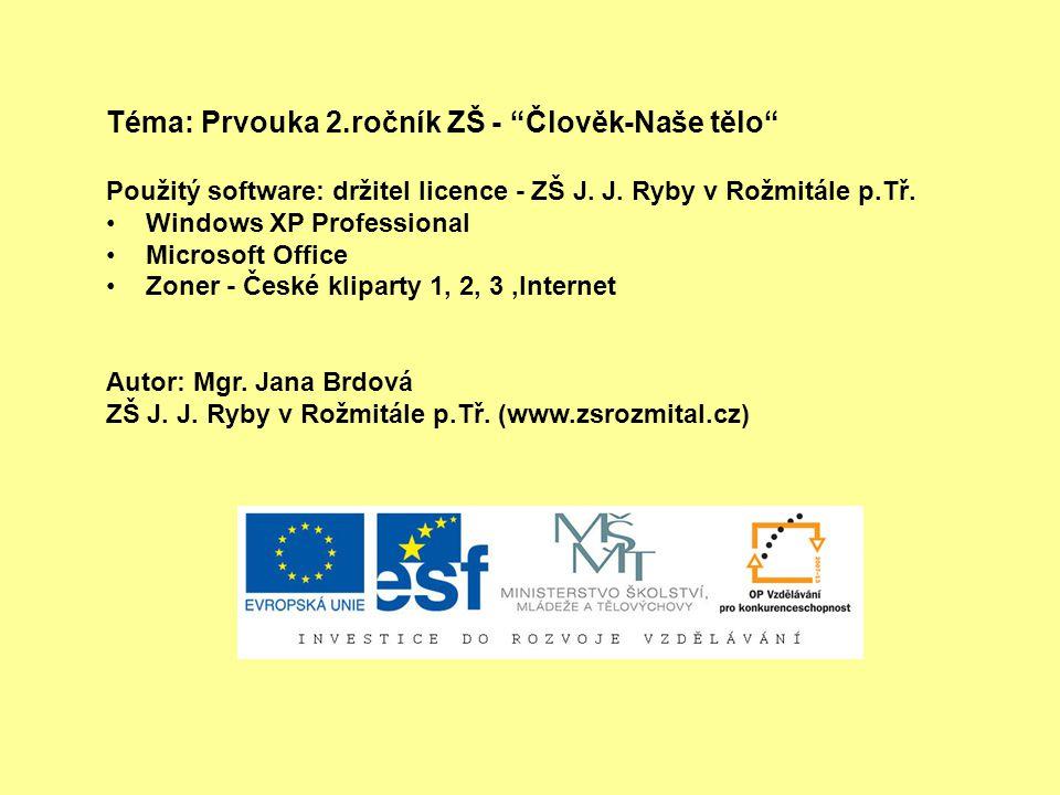 """Téma: Prvouka 2.ročník ZŠ - """"Člověk-Naše tělo"""" Použitý software: držitel licence - ZŠ J. J. Ryby v Rožmitále p.Tř. Windows XP Professional Microsoft O"""