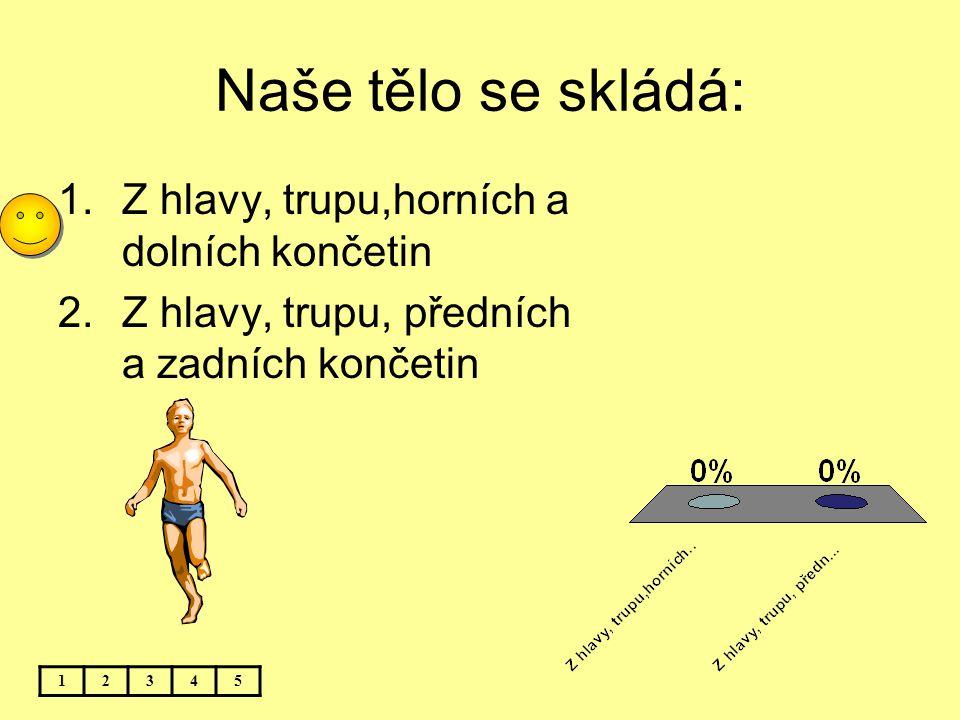 Naše tělo se skládá: 1.Z hlavy, trupu,horních a dolních končetin 2.Z hlavy, trupu, předních a zadních končetin 12345