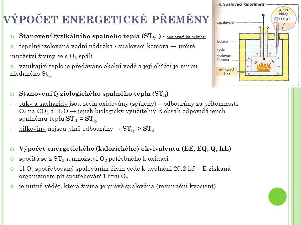 VÝPOČET ENERGETICKÉ PŘEMĚNY 1) Stanovení fyzikálního spalného tepla (ST fy ) - spalovací kalorimetr tepelně izolovaná vodní nádržka - spalovací komora → určité množství živiny se s O 2 spálí vznikající teplo je předáváno okolní vodě a její ohřátí je mírou hledaného St fy 2) Stanovení fyziologického spalného tepla (ST fl ) tuky a sacharidy jsou zcela oxidovány (spáleny) = odbourány za přítomnosti O 2 na CO 2 a H 2 O → jejich biologicky využitelný E obsah odpovídá jejich spalnému teplu ST fl = ST fy bílkoviny nejsou plně odbourány → ST fy > ST fl 3) Výpočet energetického (kalorického) ekvivalentu (EE, EQ, Q, KE) spočítá se z ST fl a množství O 2 potřebného k oxidaci 1l O 2 spotřebovaný spalováním živin vede k uvolnění 20,2 kJ = E získaná organizmem při spotřebování 1 litru O 2 je nutné vědět, která živina je právě spalována (respirační kvocient)