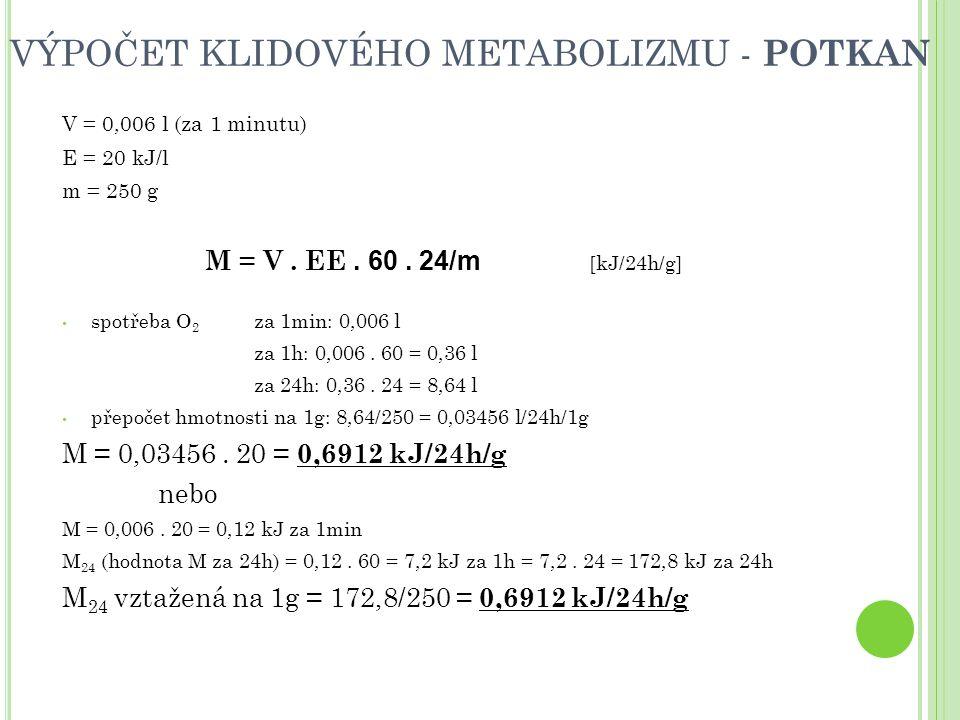 VÝPOČET KLIDOVÉHO METABOLIZMU - POTKAN V = 0,006 l (za 1 minutu) E = 20 kJ/l m = 250 g M = V.