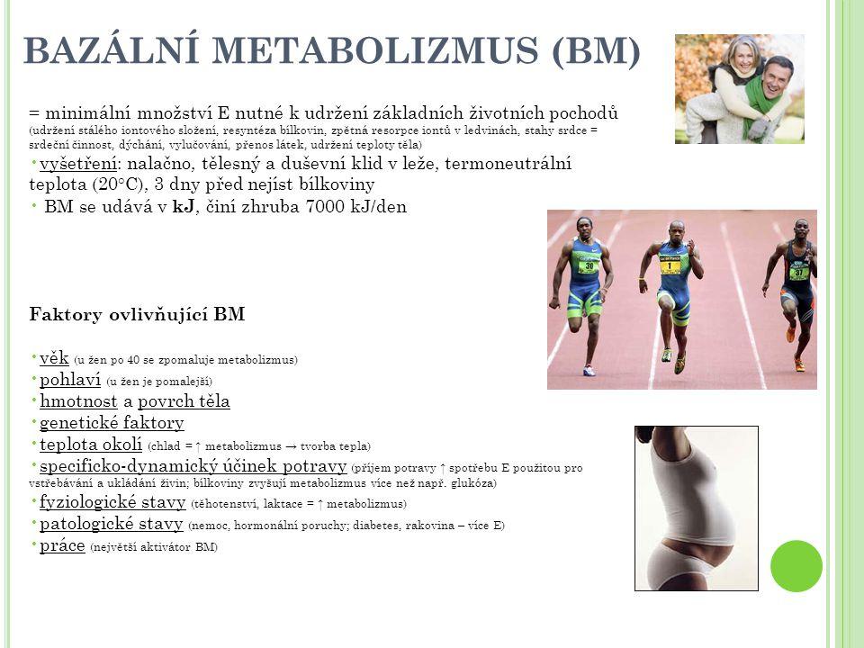 Rubnerův povrchový zákon hodnota BM vztažená na kg hmotnosti těla se u jednotlivců liší → těžší jedinci mají relativně nižší úroveň BM vztáhne-li se hodnota BM na povrch těla (na m 2 ), vychází shodná = s relativním zvětšováním povrchu těla homoiotermních živočichů se zvětšuje i jejich metabolizmus (omezení - na výdej tepla do prostředí má vliv i podkožní tuk, prokrvení kůže a pokryv peřím nebo srstí) Klidový metabolismus – podmínkou při měření je klid Celkový metabolizmus = bazální metabolizmus + E na veškeré další aktivity organizmu; závisí na teplotě prostředí a druhu vykonané práce Řízení metabolizmu - endokrinní žlázy hypotalamo-hypofyzárního systému (hormony) = tyroxin (štítná žláza), tyreotropin (TSH ; adenohypofýza), tyreotropin stimulující hormon (TRH ; hypothalamus) E nejnáročnější orgány : svalovina, srdce, ledviny