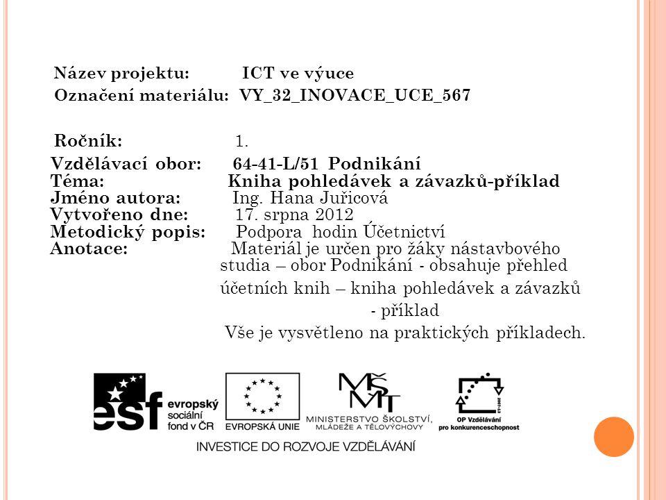 Název projektu: ICT ve výuce Označení materiálu: VY_32_INOVACE_UCE_567 Ročník: 1. Vzdělávací obor: 64-41-L/51 Podnikání Téma: Kniha pohledávek a závaz