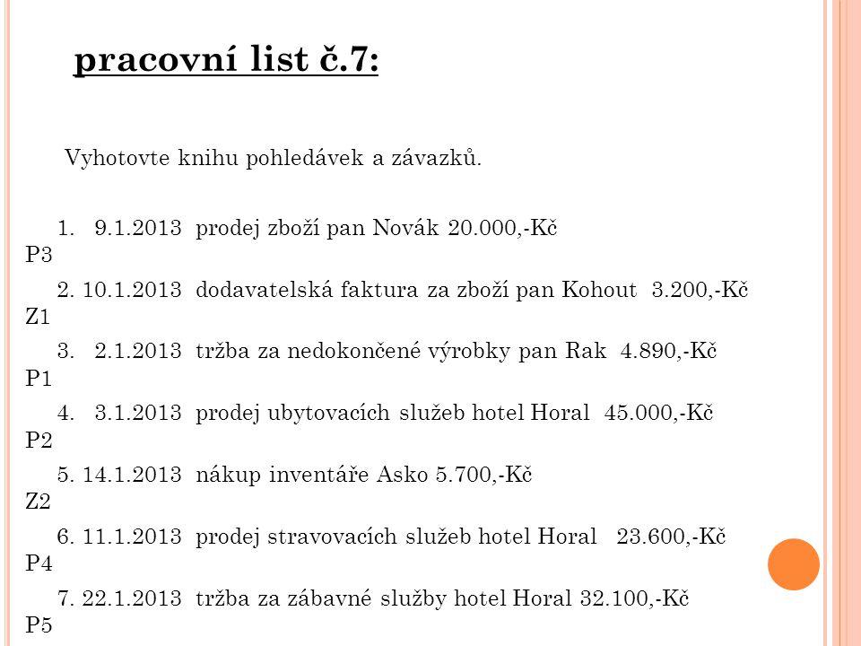 pracovní list č.7: Vyhotovte knihu pohledávek a závazků. 1. 9.1.2013 prodej zboží pan Novák 20.000,-Kč P3 2. 10.1.2013 dodavatelská faktura za zboží p