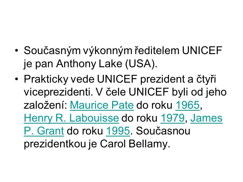 Současným výkonným ředitelem UNICEF je pan Anthony Lake (USA). Prakticky vede UNICEF prezident a čtyři viceprezidenti. V čele UNICEF byli od jeho zalo