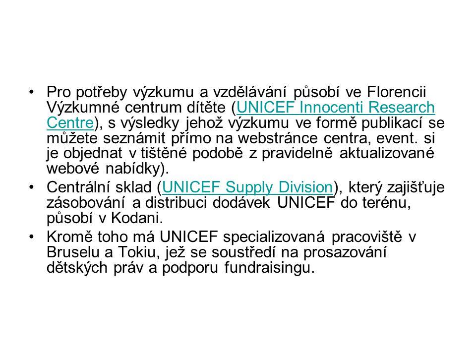 Pro potřeby výzkumu a vzdělávání působí ve Florencii Výzkumné centrum dítěte (UNICEF Innocenti Research Centre), s výsledky jehož výzkumu ve formě pub