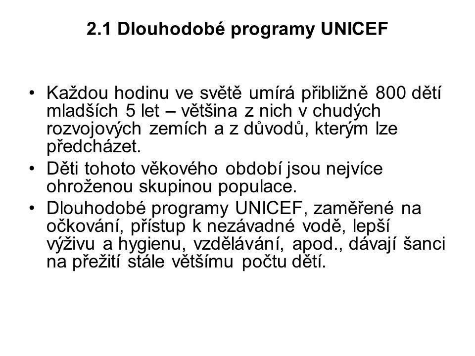 2.1 Dlouhodobé programy UNICEF Každou hodinu ve světě umírá přibližně 800 dětí mladších 5 let – většina z nich v chudých rozvojových zemích a z důvodů
