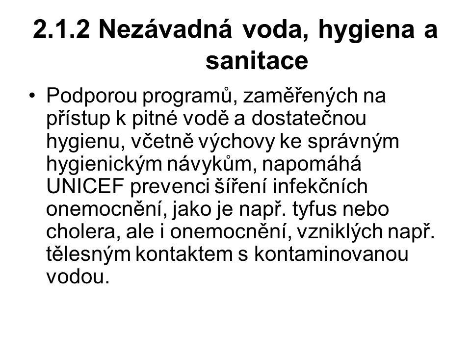 2.1.2 Nezávadná voda, hygiena a sanitace Podporou programů, zaměřených na přístup k pitné vodě a dostatečnou hygienu, včetně výchovy ke správným hygie