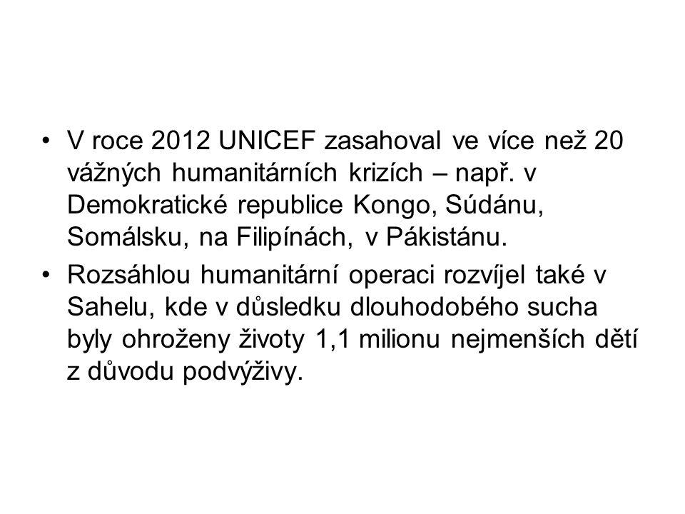 V roce 2012 UNICEF zasahoval ve více než 20 vážných humanitárních krizích – např. v Demokratické republice Kongo, Súdánu, Somálsku, na Filipínách, v P