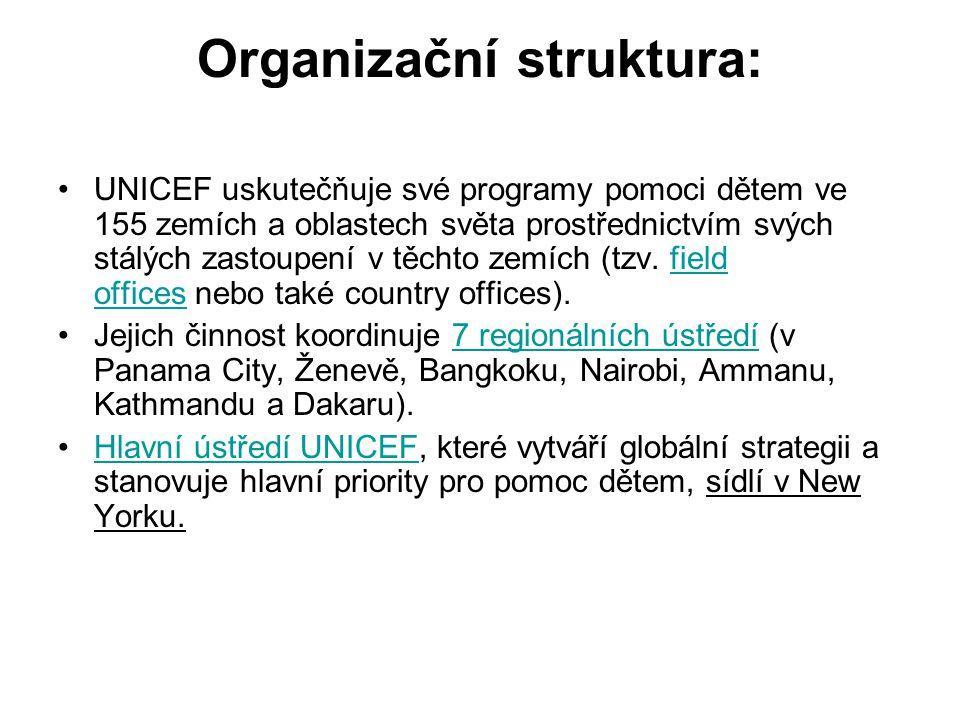 Organizační struktura: UNICEF uskutečňuje své programy pomoci dětem ve 155 zemích a oblastech světa prostřednictvím svých stálých zastoupení v těchto