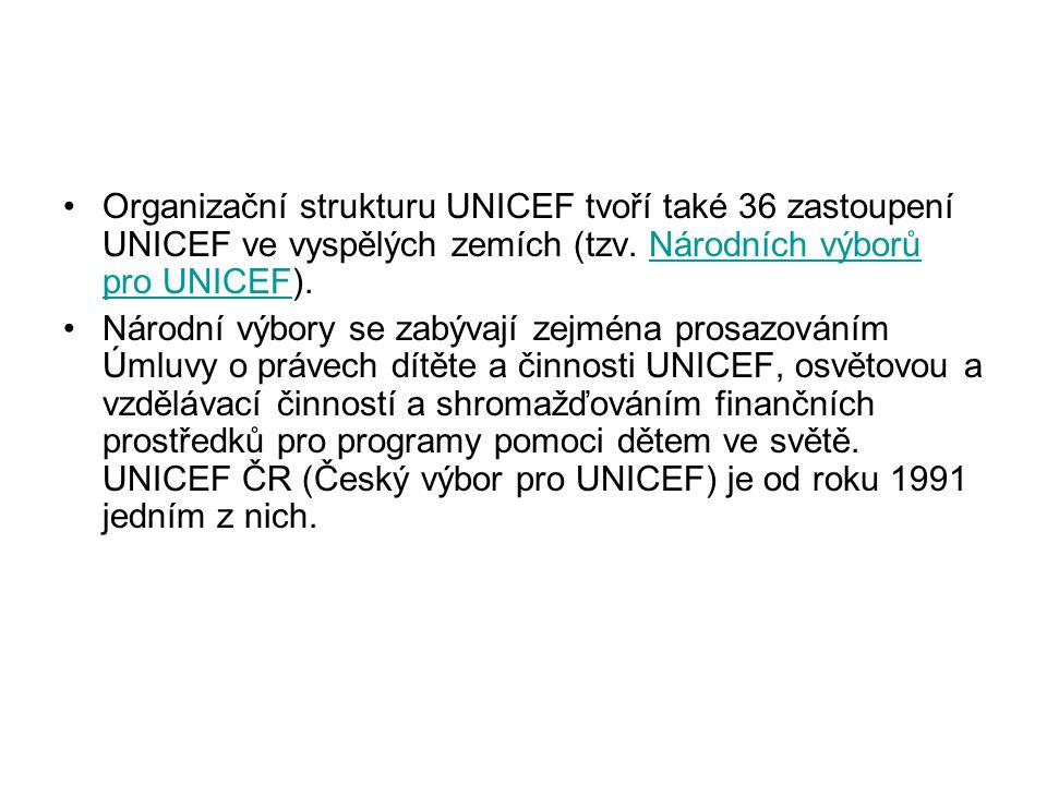 Organizační strukturu UNICEF tvoří také 36 zastoupení UNICEF ve vyspělých zemích (tzv. Národních výborů pro UNICEF).Národních výborů pro UNICEF Národn