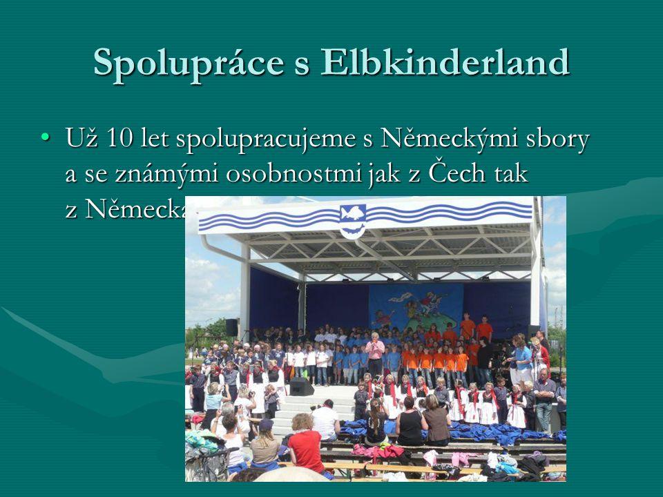 Spolupráce s Elbkinderland Už 10 let spolupracujeme s Německými sbory a se známými osobnostmi jak z Čech tak z NěmeckaUž 10 let spolupracujeme s Německými sbory a se známými osobnostmi jak z Čech tak z Německa