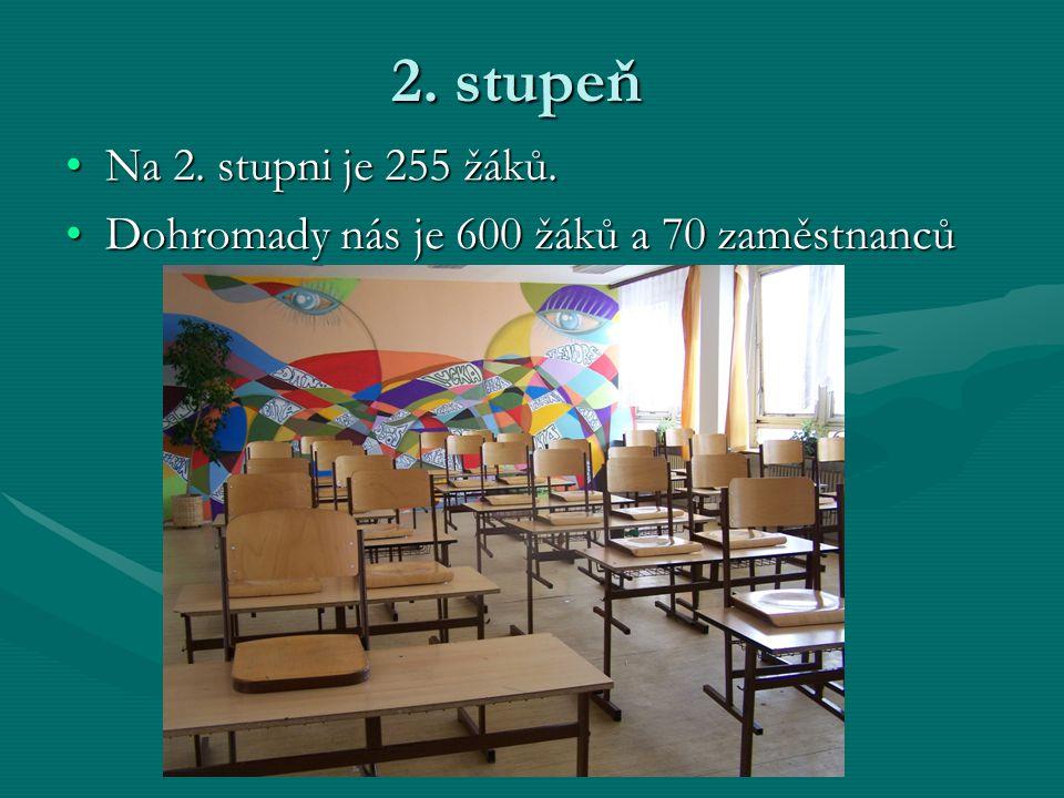 2. stupeň Na 2. stupni je 255 žáků. Dohromady nás je 600 žáků a 70 zaměstnanců