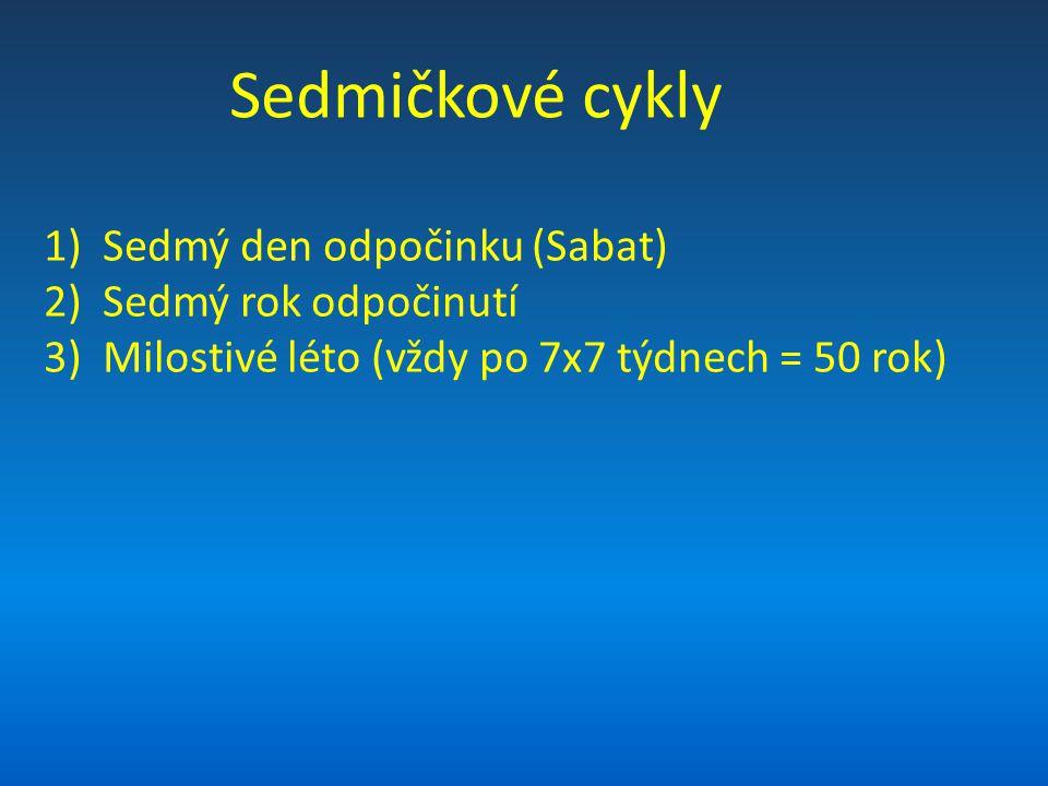 Sedmičkové cykly 1)Sedmý den odpočinku (Sabat) 2)Sedmý rok odpočinutí 3)Milostivé léto (vždy po 7x7 týdnech = 50 rok)