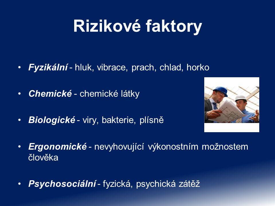 Rizikové faktory Fyzikální - hluk, vibrace, prach, chlad, horko Chemické - chemické látky Biologické - viry, bakterie, plísně Ergonomické - nevyhovují