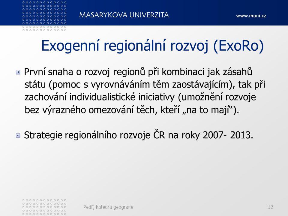 """Exogenní regionální rozvoj (ExoRo) První snaha o rozvoj regionů při kombinaci jak zásahů státu (pomoc s vyrovnáváním těm zaostávajícím), tak při zachování individualistické iniciativy (umožnění rozvoje bez výrazného omezování těch, kteří """"na to mají )."""