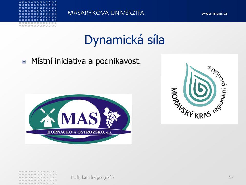 Dynamická síla Místní iniciativa a podnikavost. PedF, katedra geografie17