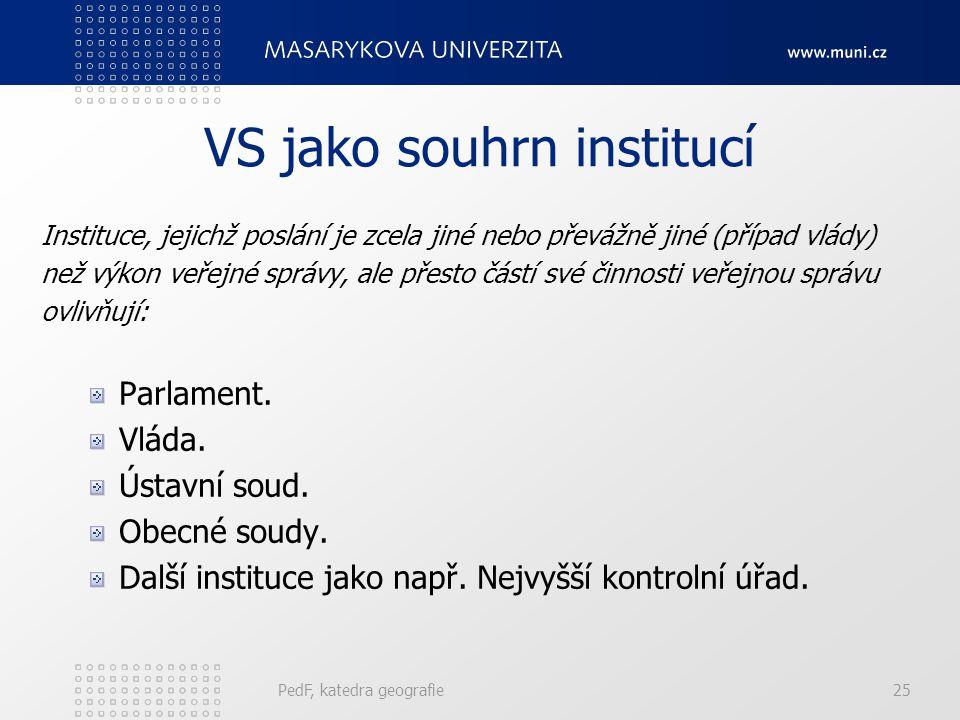 VS jako souhrn institucí Instituce, jejichž poslání je zcela jiné nebo převážně jiné (případ vlády) než výkon veřejné správy, ale přesto částí své činnosti veřejnou správu ovlivňují: Parlament.