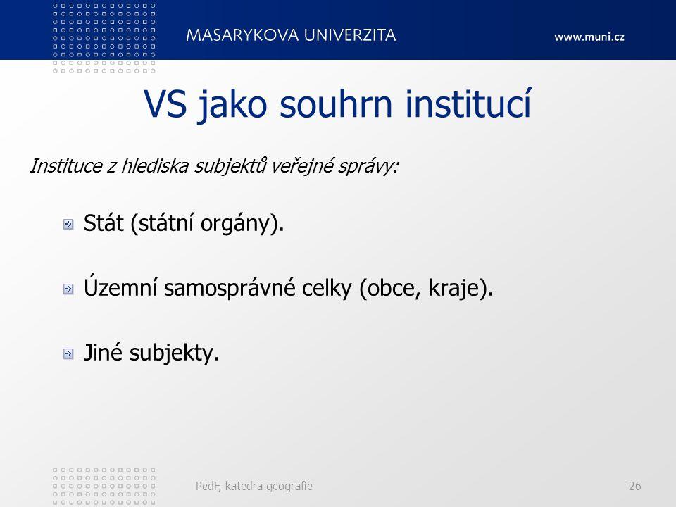 VS jako souhrn institucí Instituce z hlediska subjektů veřejné správy: Stát (státní orgány). Územní samosprávné celky (obce, kraje). Jiné subjekty. Pe