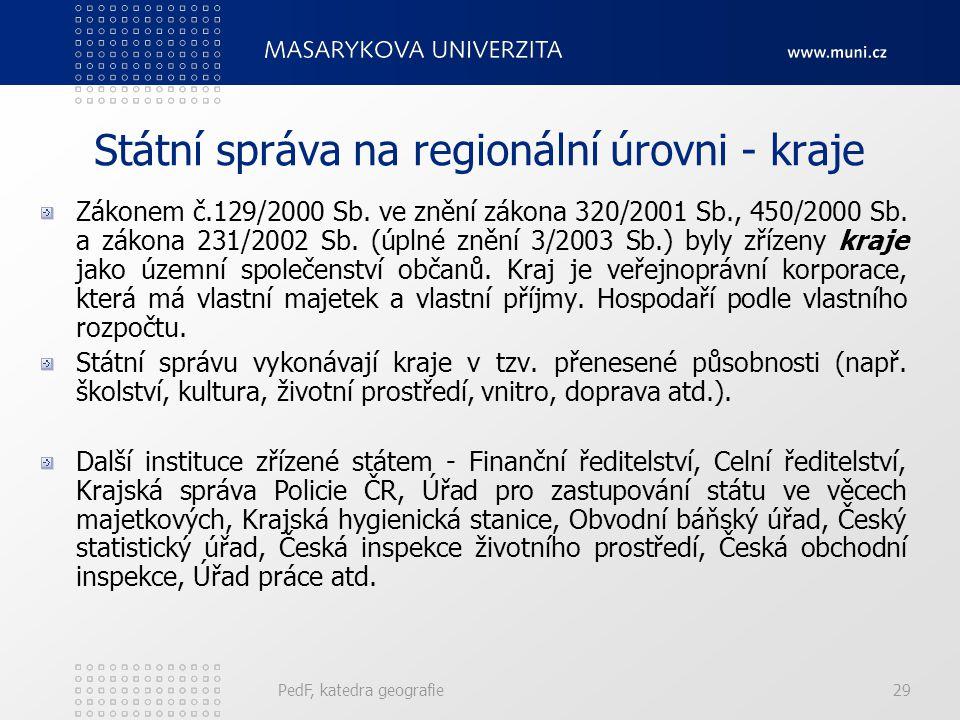 Státní správa na regionální úrovni - kraje Zákonem č.129/2000 Sb. ve znění zákona 320/2001 Sb., 450/2000 Sb. a zákona 231/2002 Sb. (úplné znění 3/2003