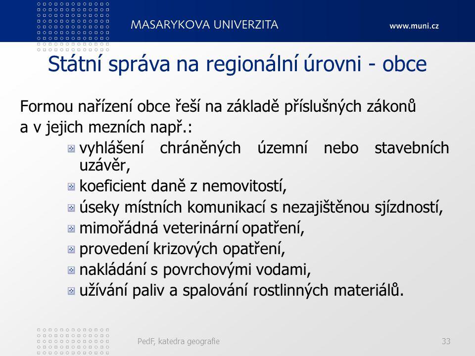 Státní správa na regionální úrovni - obce Formou nařízení obce řeší na základě příslušných zákonů a v jejich mezních např.: vyhlášení chráněných územn