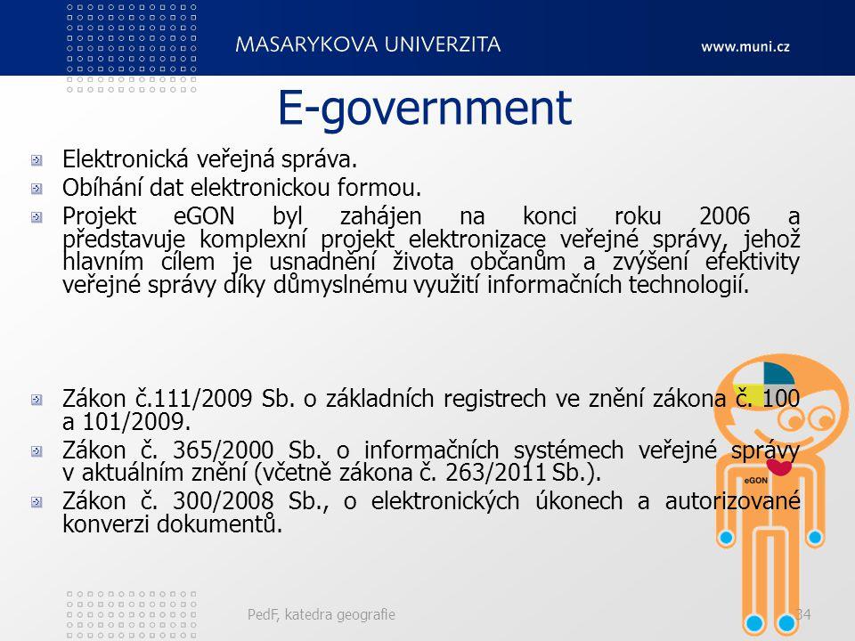 E-government PedF, katedra geografie34 Elektronická veřejná správa. Obíhání dat elektronickou formou. Projekt eGON byl zahájen na konci roku 2006 a př